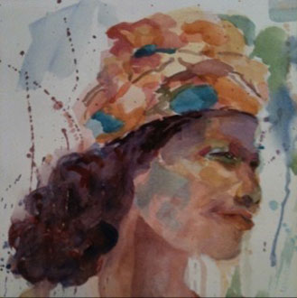 Africa - 12x14 - acrylic, watercolor on paper- SOLD