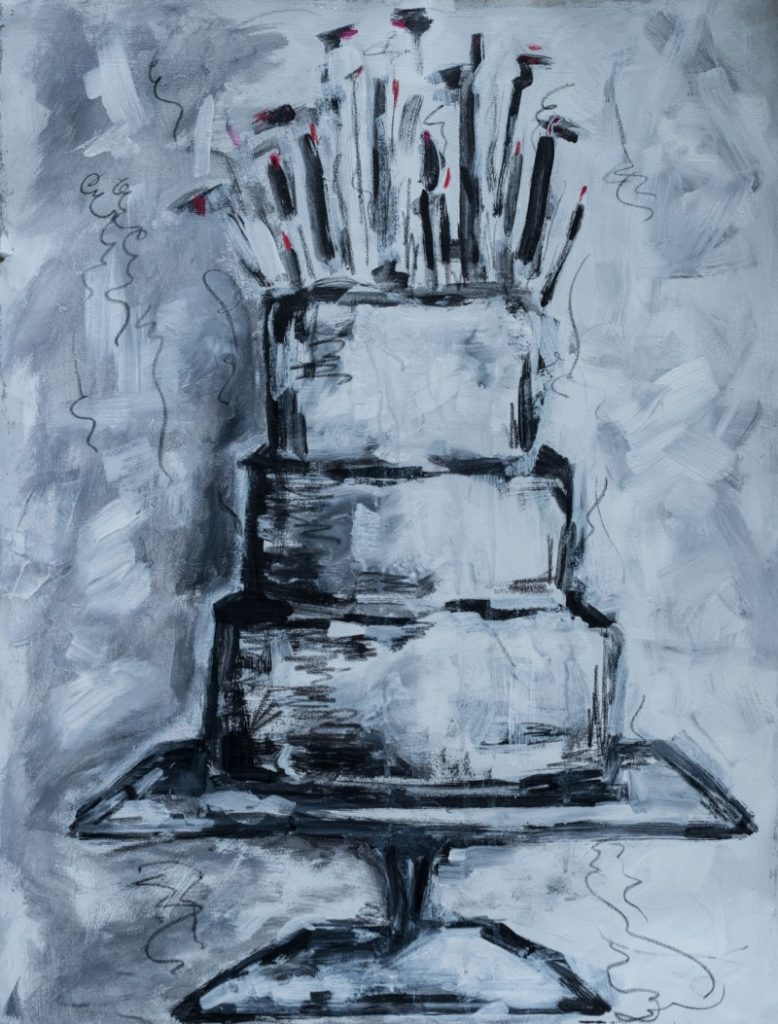 Black and White Cake - 22x30 - acrylic, pencil, crayon on paper, unframed