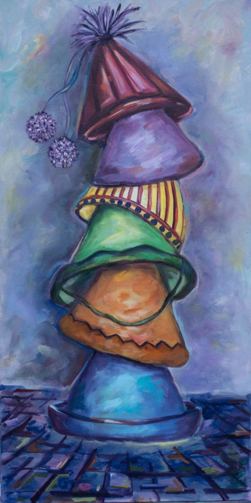 Clown Hats - 18x36 - oil on canvas  Currently on display at LilaJune Skincare & Nail Studio
