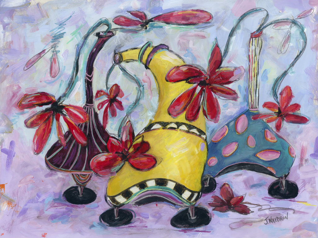 Dancing Vases - 31x38 - acrylic, crayon, graphite on paper, framed, NFS