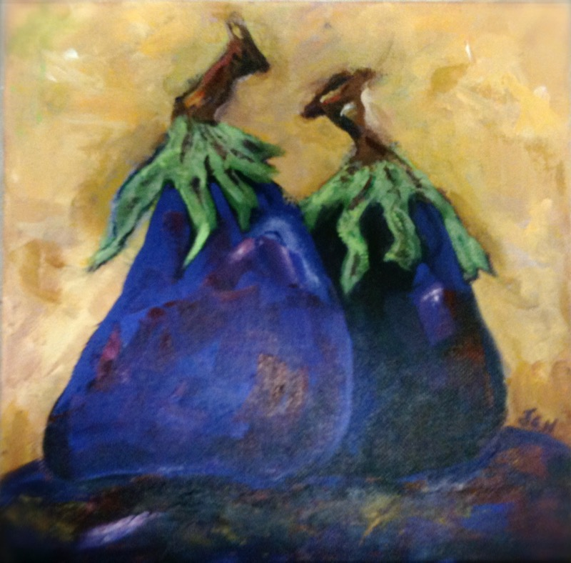 Eggplants in Love - 6x10 - oil on canvas - SOLD