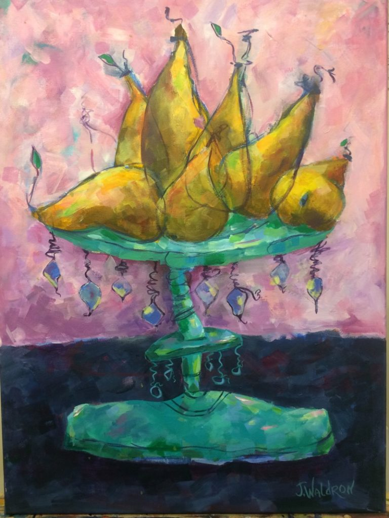 Lazy Yellow Pears - 18x24 - acrylic on canvas - Currently on Exhibit at Elanden Gardens