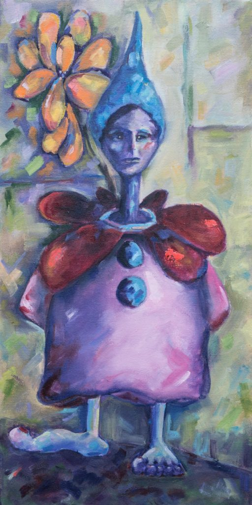 Rotund Pink Lady -12x24 - oil on canvas