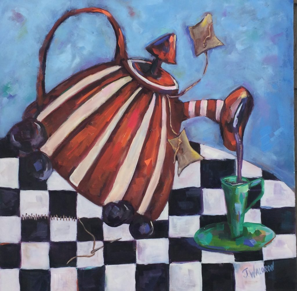 Striped Tea Pot - 20x20 - oil on canvas