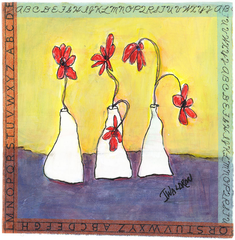 Three White Vases - 6x6 - acrylic on paper