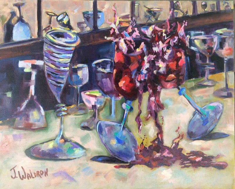 Wine Glass Party - 16x20 - oil on canvas