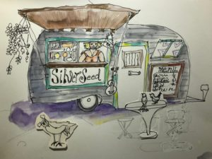 colored sketch of woman in food trailer with table and birds outside
