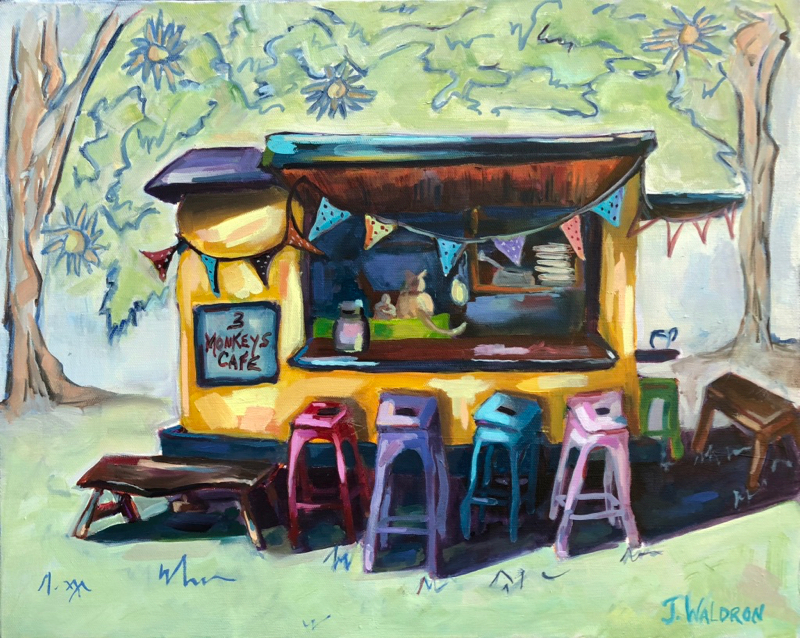 3 Monkeys Cafe 16x20. oil $415 SOLD