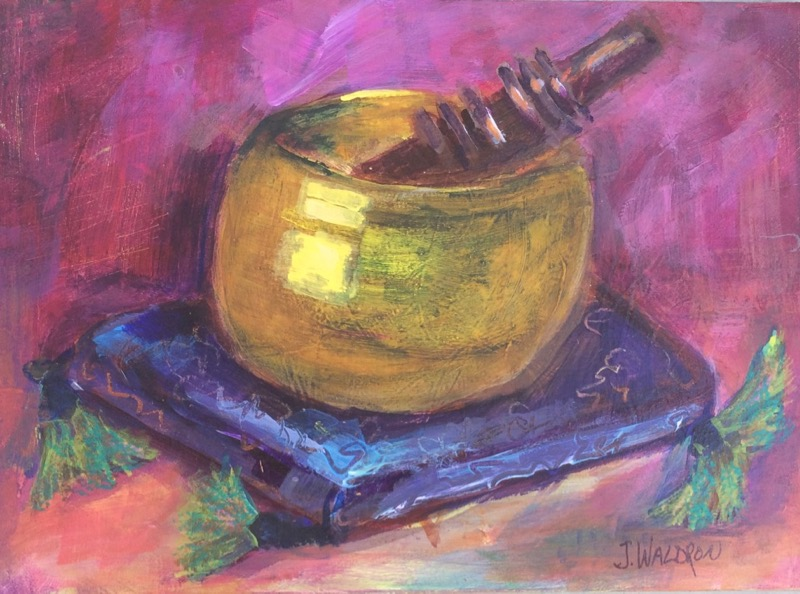Singing Bowl - 5x7 - oil on canvas board