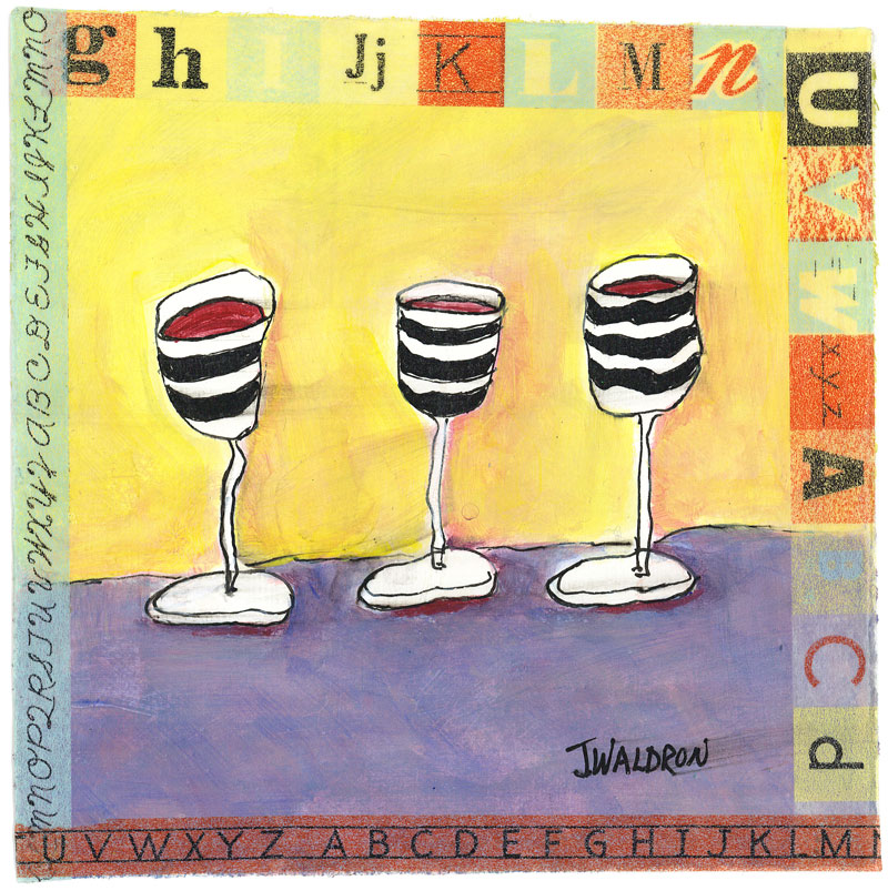 3 Wine Glasses - 6x6 - acrylic on paper