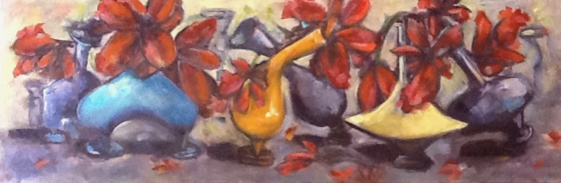 Bowing Beauties - 36x18 - oil on canvas    $540.