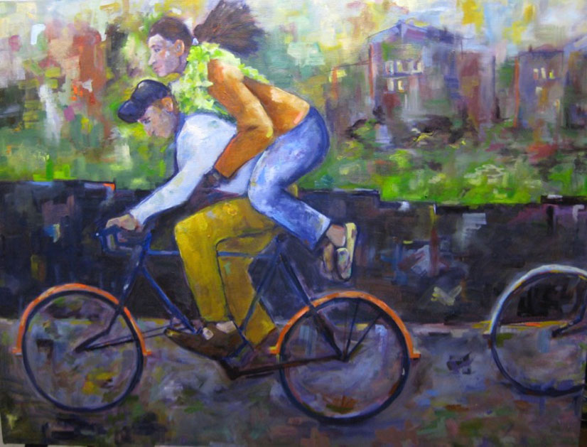 Piggy Backin' - 2'x4' - oil on canvas - Currently on Exhibit at Elanden Gardens