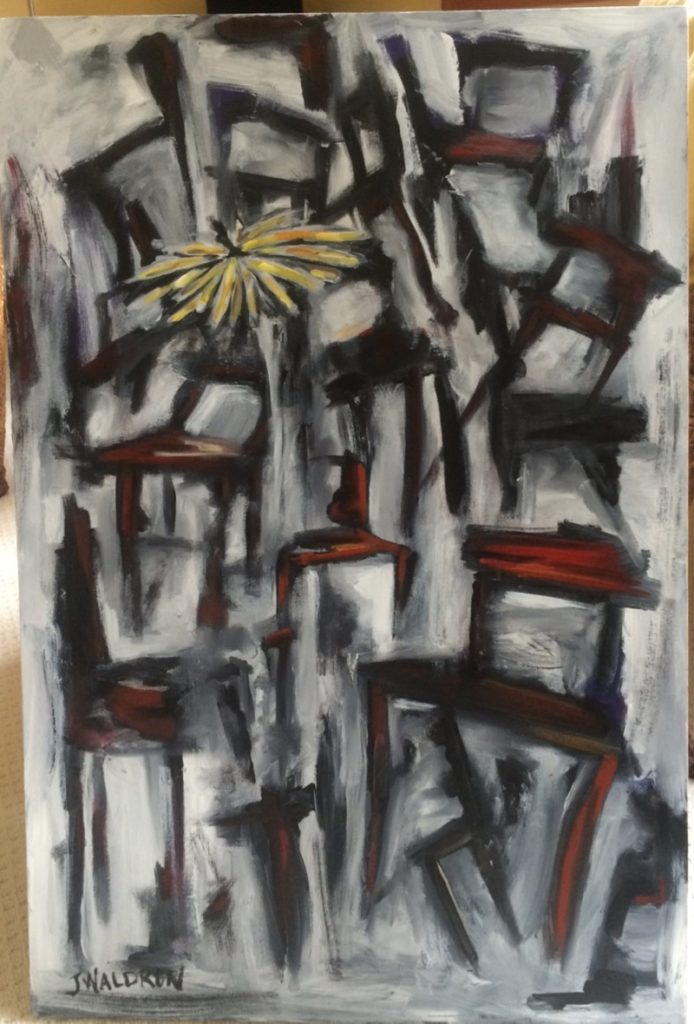 Red Chairs with Daisy - 2'x3' - acrylic on canvas