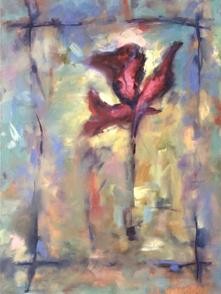 Red Healing Flower - 20x24 - oil on canvas