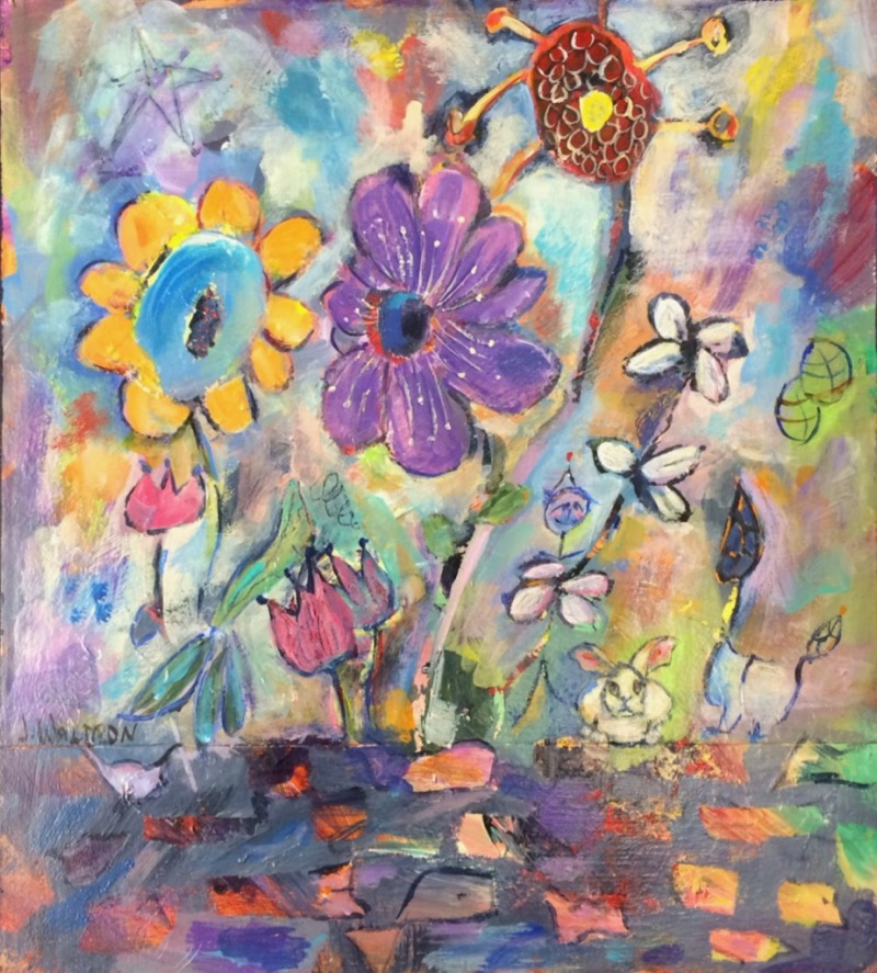Sprightly Flowers - 16x10 - acrylic on wood - SOLD