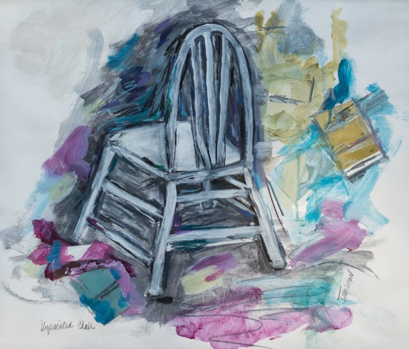Unpainted Chair - Framed - 23x19 - mixed media on paper