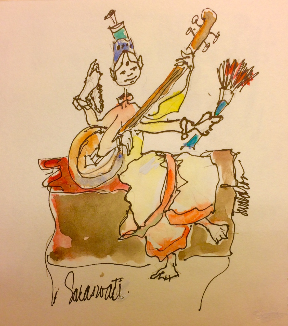 Goddess Saraswati as a colored drawing by Jennifer
