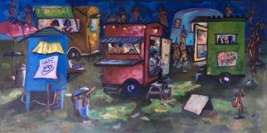 A night scene with colorful food trucks, garbage can, closed umbrellas with one open, people in the food trucks and a woman sitting on the stoop smoking