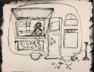 painting sketch of woman in food cart with birds on the ground