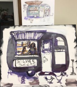 Man and woman in Silver Seed food cart. Image is painted with darks and lights